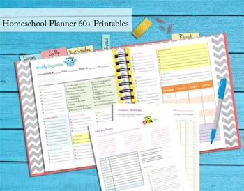 140+ pgs 2015-2016 Homeschool Planner - Complete Binder Set - Owl Theme