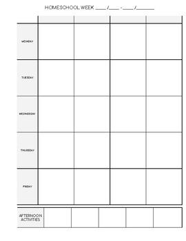 Homeschool Planner / Home Management Planner (5 Column)