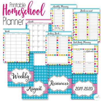 Homeschool Planner and Organizer: Bright Rainbow