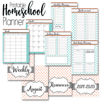 Homeschool Planner and Organizer: Coral and Black
