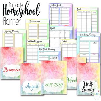 Homeschool Planner and Organizer: Watercolor