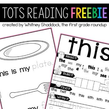 Homeschool Preschool Reading FREEBIE