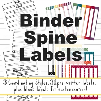 Homeschool Subject and Planner Spine Labels for Binders and Notebooks
