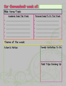 Homeschool Week at a Glance with To Do List & Mom's Notes