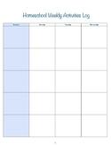 Homeschool Weekly Activities Log
