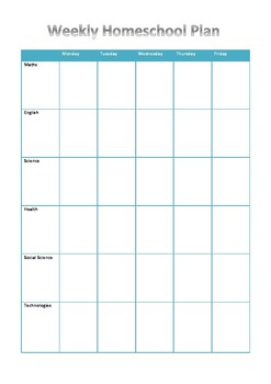Homeschool Weekly Plan - subjects