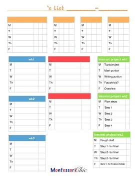 Homeschool Work List (3 wk)
