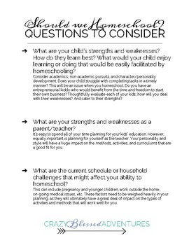 Homeschooling Things to Consider