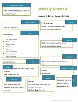 Homeschooling Weekly Sheet