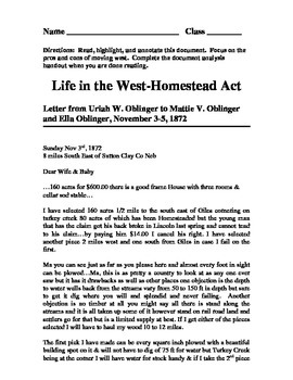Homestead Act/Life in the West Primary Documents handout