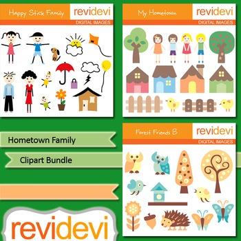 Hometown family clip art bundle (3 packs) parents, kids, houses