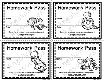 Dinosaur Homework Pass - Incentive Reward Coupon