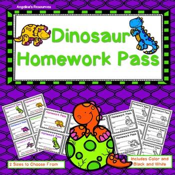 Dinosaur Homework Pass - Incentive Reward Coupon