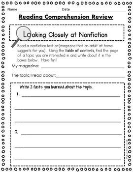 Homework 2nd Grade Language Arts Winter Pack Including Reading Homework