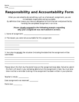 Assignment Accountability Fom