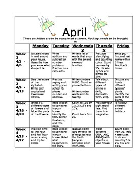 Homework Activities for Kindergarten during April