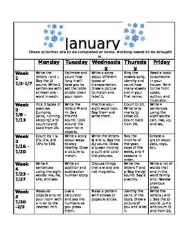 Homework Activities for Kindergarten during January