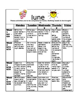 Homework Activities for Kindergarten during June