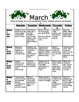 Homework Activities for Kindergarten during March