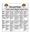 Homework Activities for Kindergarten during November