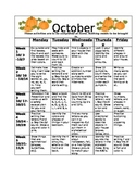 Homework Activities for Kindergarten during October