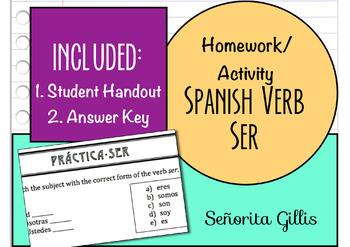 Homework/Activity Spanish Verb Ser