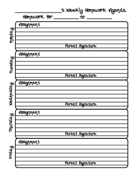 school homework planners