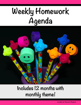 Homework Agenda & Log - Record, Track & Remind Weekly (Monthly Theme)