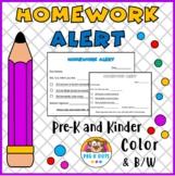 Homework Alert Printables Preschool & Kindergarten