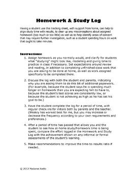 Homework And Study Log