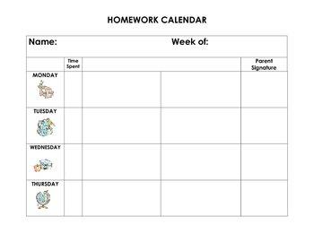 homework assignment calendar sheet
