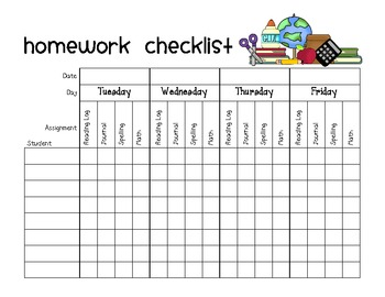 homework assignment checklist