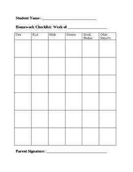 Homework/Assignment Checklist