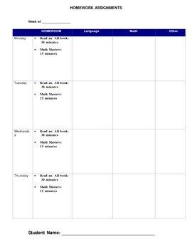 Homework Assignment Log