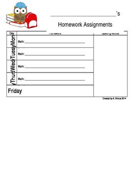 Homework Assignment Sheet - Editable