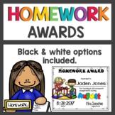 Monthly Homework Awards