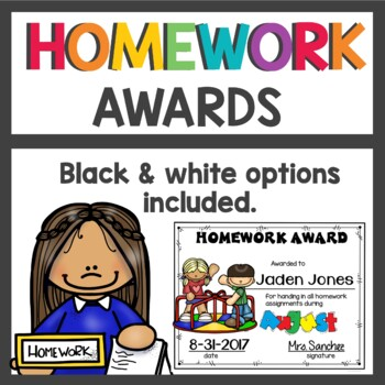 Monthly Homework Awards