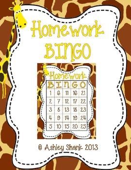 Homework BINGO Giraffe Theme