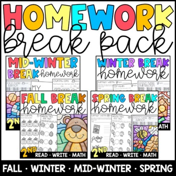 Homework BUNDLE: for Winter, Mid Winter, & Spring Breaks 2nd Grade