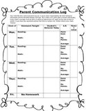 Homework, Behavior, Parent communication Log