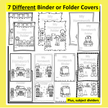 Homework Binder Covers and Subject Dividers