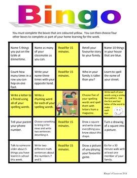 Homework Bingo