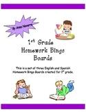 Homework Bingo Board for 1st Grade
