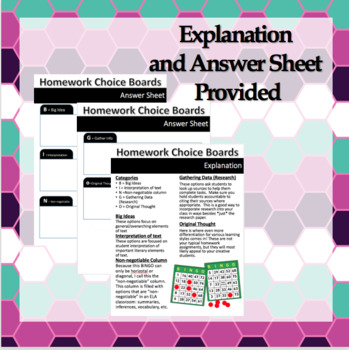 Homework Bingo Boards for ELA