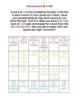 Homework Bingo Check Sheet