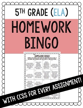 Homework Bingo ELA 5th Grade
