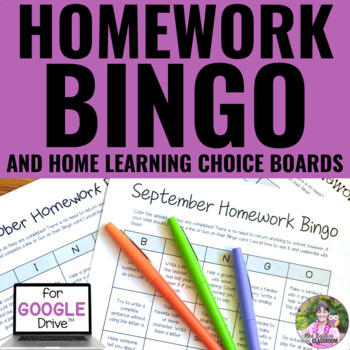 Homework Bingo - Editable