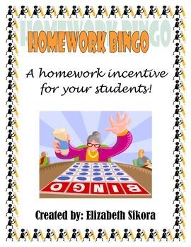 Homework Bingo Incentive