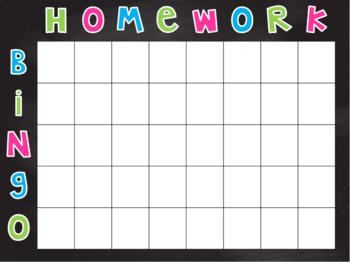 Homework Bingo Poster