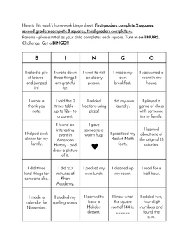 Homework Bingo Sheet - Fall/Thanksgiving